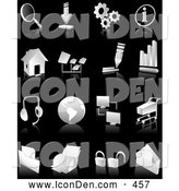 Clip Art of a Collection of White and Gray Search, Download, Information, Home Page, Music, Connectivity, Shopping, Printing, Security, Business Graph and Email Web and Computer Icons over Black by Tonis Pan