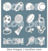 Clip Art of a Collection of White Athletic Icons on Blue by AtStockIllustration