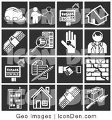 Clip Art of a Collection of White Home Construction Icons over a Black Background by AtStockIllustration