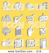 Clip Art of a Collection of White Media Icons on a Yellow Background by AtStockIllustration