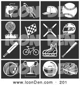 Clip Art of a Collection of White Sports and Athletic Icons over a Black Background by AtStockIllustration