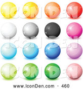 Clip Art of a Collection of Yellow, Orange, Red, White, Gray, Black, Pink, Blue, Purple and Green Shiny Orbs, Web Buttons, or 3d Marbles on a White Background by Beboy