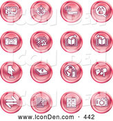 Clip Art of a Computer, Viewfinder, Wireless, Questions and Answer, Castle, Music, Forward, Back, Www, Mail, Math and Camera - Pink Coin Shaped Icons by AtStockIllustration