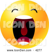 Clip Art of a Cute Yellow Emoticon Face with His Mouth Wide Open Showing His Uvula, Symbolizing Frustration and Annoyance by Tonis Pan