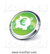 Clip Art of a Euro Piggy Bank Web Site Button by Beboy