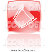 May 18th, 2015: Clip Art of a Glossy Red Square Film Strip Movie Icon by Cidepix
