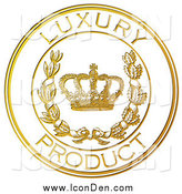 Clip Art of a Gold Embossed Luxury Product Seal with a Crown and Laurel by Eugene