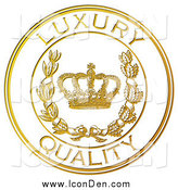 Clip Art of a Golden Embossed Luxury Quality Seal by Eugene