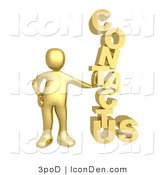 "Clip Art of a Golden Person Leaning Against a Stacked ""Contact Us"" Icon for a Website Contact Form by 3poD"
