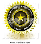 Clip Art of a Golden Star Quality Assured Seal Icon by Michaeltravers