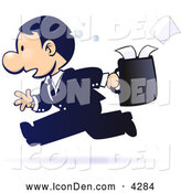 Clip Art of a Gradient Blue, Sweaty, Stressed out White Businessman Running with Papers Spilling out of His Briefcase Behind Him by Tonis Pan