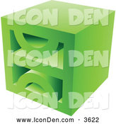 Clip Art of a Green Block Icon by Cidepix