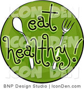 Clip Art of a Green Eat Healthy Icon by BNP Design Studio