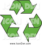 Clip Art of a Green Recycle Arrow Icon by MilsiArt