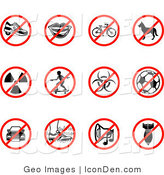 Clip Art of a Group Collection of Twelve Red Restriction Icons Showing Heelies Shoes, Talking, Bicycle, Dog, Waste, Skateboarding, Biohazard, Soccer, Parking, Walking on Grass, Noise, and a Bomb by AtStockIllustration