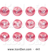 Clip Art of a Group of 12 Round Red Strength Icons by AtStockIllustration