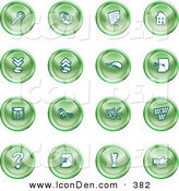 Clip Art of a Group of 16 Green Icons of a Magnifying Glass, Email, Home Page, Upload, Download, Mouse, Key, Disc, Padlock, Speaker, Www, Questionmark, and Exclamation Point by AtStockIllustration