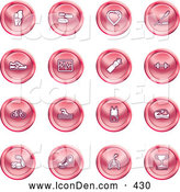 Clip Art of a Group of 16 Round Red Health Icons by AtStockIllustration