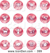 Clip Art of a Group of 16 Round Red Household Icons by AtStockIllustration