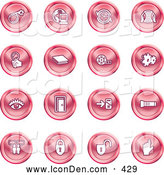 Clip Art of a Group of 16 Round Red Website Icons by AtStockIllustration
