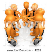 Clip Art of a Group of 7 Orange Businessmen Carrying Briefcases and Standing with Their Hands Together, Symbolizing Teamwork by 3poD