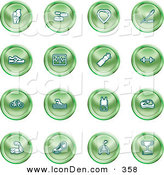 Clip Art of a Group of Green Health Icons by AtStockIllustration