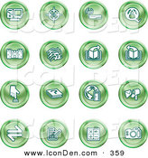 May 13th, 2013: Clip Art of a Group of Green Icons of a Computer, Viewfinder, Wireless, Questions and Answer, Castle, Music, Forward, Back, Www, Mail, Math and Camera by AtStockIllustration