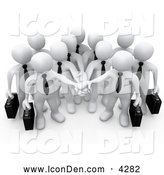 Clip Art of a Group of Office Business People Carrying Briefcases and Standing with Their Hands Piled, Symbolizing Teamwork, Cooperation, Support, Unity and Goals by 3poD