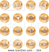 Clip Art of a Group of Orange Icons of a Calendar, Cables, Shopping Cart, Camera, Check Mark, Fortress, News, Trash Can, Chart, Networking and Information by AtStockIllustration