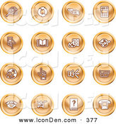 May 2nd, 2013: Clip Art of a Group of Orange Icons of Security Symbols on a White Background by AtStockIllustration