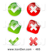 Clip Art of a Group of Peeling Square and Circle Green and Red Check Mark and X Mark Stickers by Beboy