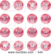 Clip Art of a Group of Red Orb Shaped Home Icons by AtStockIllustration