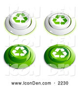 Clip Art of a Group of White and Green Buttons with Recycle Arrows on Them, Includes Depressed Buttons by Beboy