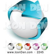 Clip Art of a Large Blue Arrow Circling a White Orb, Symbolizing Recycling and Ecology by Beboy