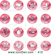Clip Art of a Martini, Pigs, Fish, Juice, Kebobs, Corn, Wine, Beer, Chicken, Breakfast, Fruit, Bread, Meal, Burger and Cheese - Pink Coin Shaped Icons by AtStockIllustration
