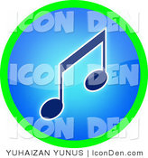 Clip Art of a Neon Blue and Green Music Button by YUHAIZAN YUNUS