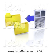 Clip Art of a Office Word Document and a Blue Arrow Beside Two Yellow Folder Icons by KJ Pargeter