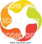 Clip Art of a Orange, Green, Red and Yellow Star Icon by Elena