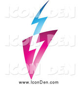 Clip Art of a Pink Blue and White Lightning Icon by Cidepix