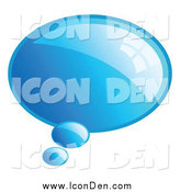 Clip Art of a Reflective Blue Word, Chat or Speech Balloon Icon by KJ Pargeter