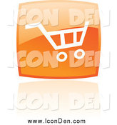 Clip Art of a Reflective Orange Square Shopping Cart Web Icon by Cidepix