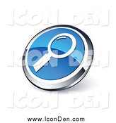 Clip Art of a Round Blue and Chrome Magnifying Glass Search Icon by Beboy