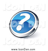 Clip Art of a Round Blue and Chrome Question Mark Button by Beboy
