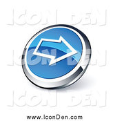 Clip Art of a Round Blue Right Arrow Web Site Button by Beboy