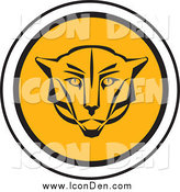 Clip Art of a Round Cougar Head Icon by Eugene