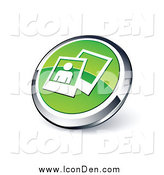 March 4th, 2014: Clip Art of a Round Green and Chrome Photos Web Site Icon by Beboy
