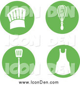 Clip Art of a Round Green Icons with Cooking Items by Monica