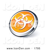 Clip Art of a Round Orange and Chrome Bio Hazard Icon Button by Beboy