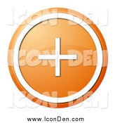 Clip Art of a Round Orange and White Plus Button by Oboy