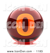 Clip Art of a Round Red 3d Numbered Button; 0 by Chrisroll